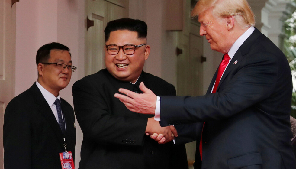 MØTTES: USAs president Donald Trump og Nord-Koreas leder Kim Jong-un under deres første og hittil eneste møte i Singapore i juni i 2016. Foto: Jonathan Ernst / Reuters / NTB Scanpix