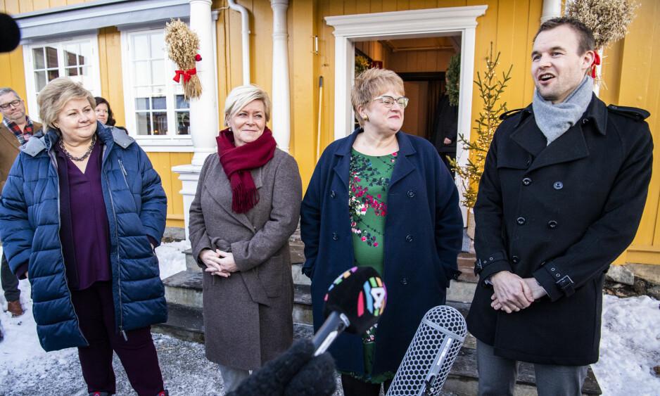 FAMILIEN: Partiene. Her representert ved statsminister Erna Solberg, finansminister Siv Jensen, kulturminister Trine Skei Grande og nestleder i Krf, Kjell Ingolf Ropstad. Foto: Lars Eivind Bones / Dagbladet
