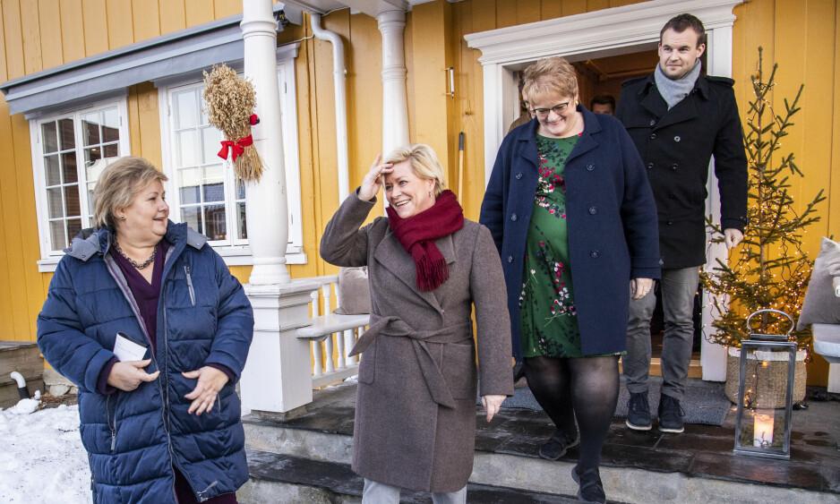 ENIGE: Det kommer høyst sannsynlig til å være mange saker regjeringspartiene vil være uenige om, men de er faktisk enige om en viktig sak for norsk næringsliv: fjerning av formuesskatt på arbeidende kapital, skriver innsenderen. Foto: Lars Eivind Bones / Dagbladet