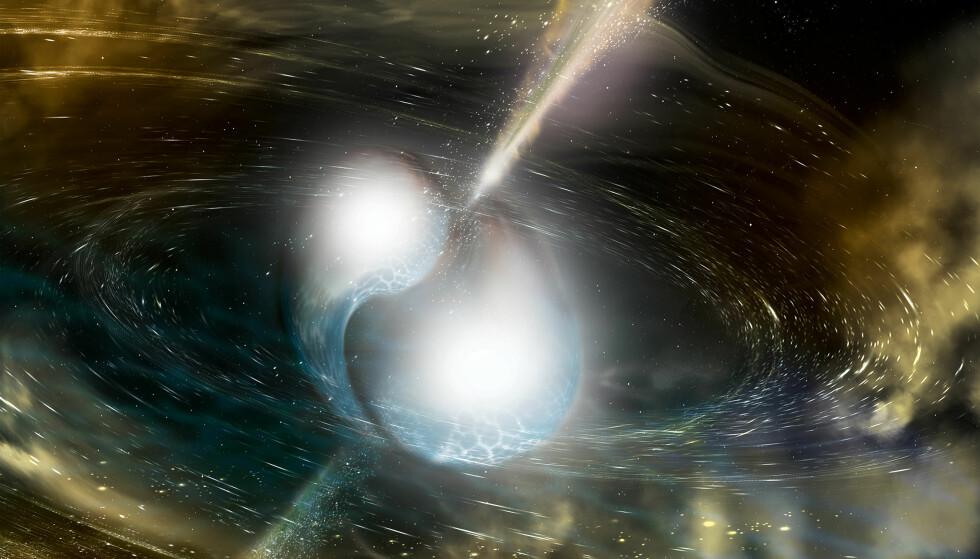 ILLUSTASJON: Her har en kunstner illustrert hvordan det ser ut da to nøytronstjerner slås sammen. Det spekuleres i om en slik sammenslåing kan føre til signalene. Foto: AFP