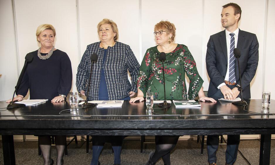 TROLIG KLAR REGJERINGSSAMMENSETNING: Alt Erna Solberg måtte gjøre for å gjøre alle til lags, var å opprette to nye statsrådsstillinger . Foto: Hans Arne Vedlog / Dagbladet