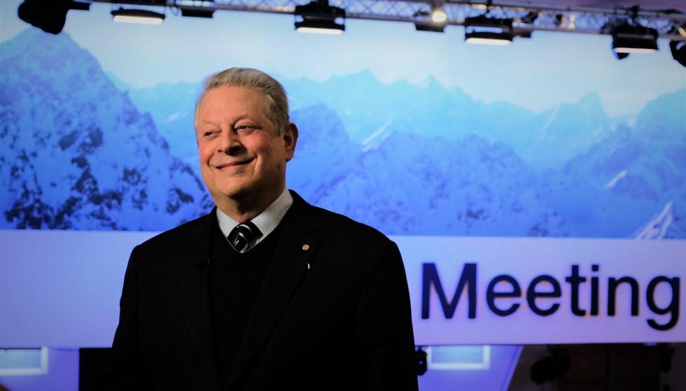 FLYR PRIVATFLY: USAs tidligere visepresident Al Gore er blant deltakerne i Davos som er dypt bekymret over klimaendringene, men også han ankom Sveits i privatfly. Foto: Nicolai Eriksen / Dagbladet