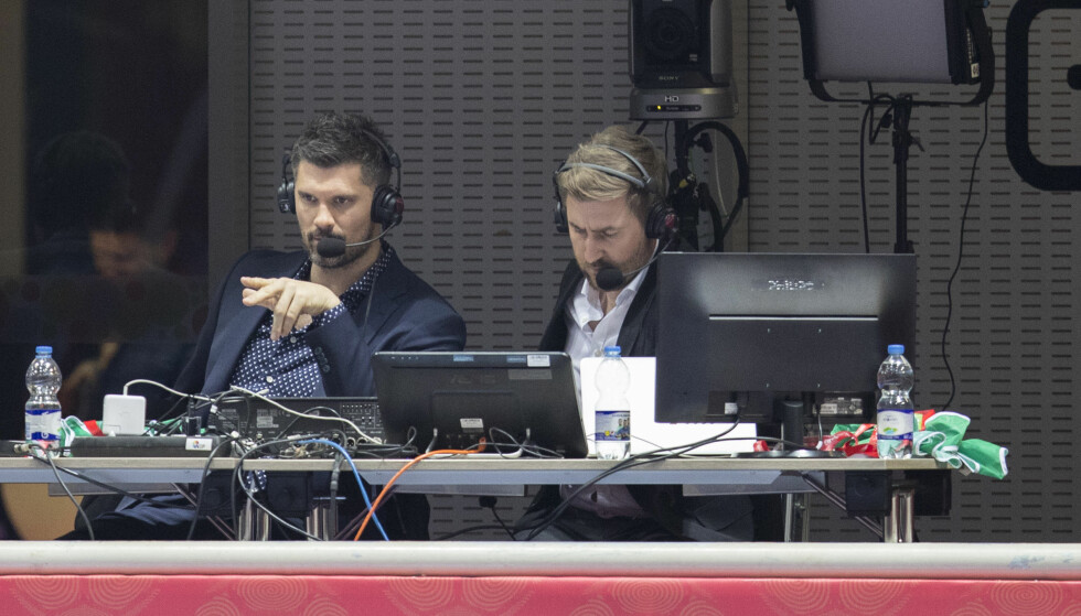 TOPP TV-PAR: Ekspertkommentator Kristian Kjelling og hans faste stemningsskaper Daniel Høglund (til høyre) løfter håndball-VM på TV. Foto: Vidar Ruud / NTB scanpix