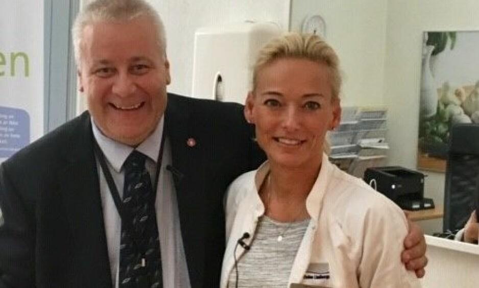 MØNSTERELEVEN: Hege Hasler Barhaughøgda støtter Bård i tykt og tynt. Foto: Privat