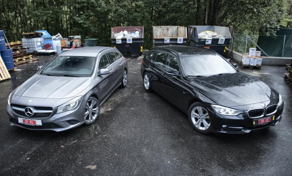 BARSK DUELL: Autofil har testet brukte utgaver av stasjonsvognene Mercedes CLA Shooting Brake (t.v) og BMW 318 d AT - og har kåret en vinner i prestisjeduellen. Foto: Kaj Alver