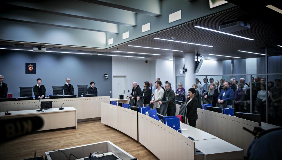JURYEN OG FAGDOMMERNE: Juryen ville frikjenne Eirik Jensen for grov narkotikaforbrytelse. Det gikk ikke Kristel Heyerdahl og fagdommerne med på. Foto: Bjørn Langsem
