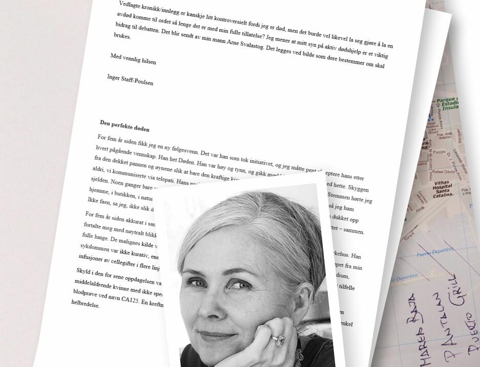 ØNSKER DEBATT: Kreftsyke Inger Staff-Poulsen ønsket å bringe temaet aktiv dødshjelp fram i offentligheten. Derfor skrev hun denne kronikken. Foto: Privat