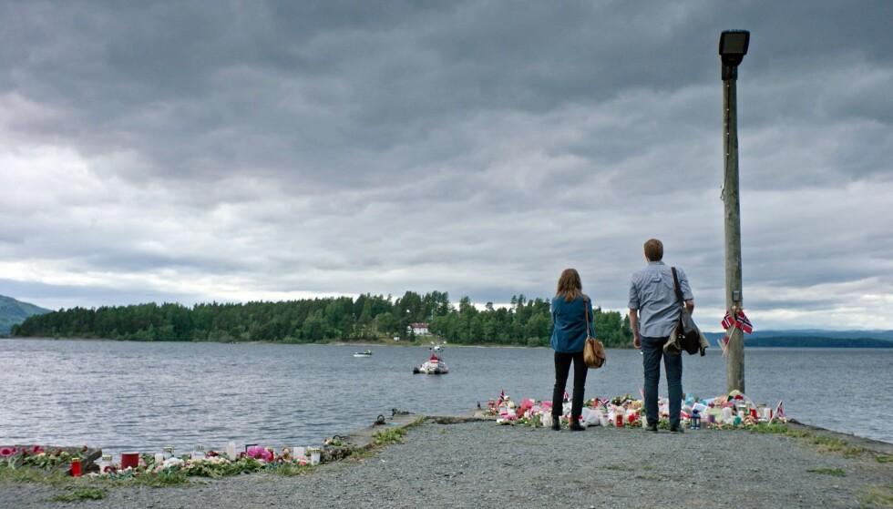 FØRSTE BILDE: «22. juli»-serien får premiere neste år. Dette er første bilde fra serien og viser Utøya-kaia i Hole kommune. Foto: NRK / DRG