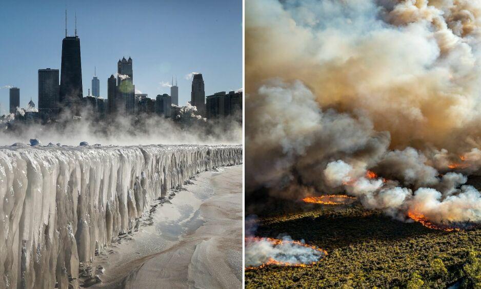 STOR VARIASJON: Kloden koker og fryser samtidig. Det er kuldesjokk i Chicago, mens det er hetebølge i Australia. Foto: Scott Olson / AFP og Reuters