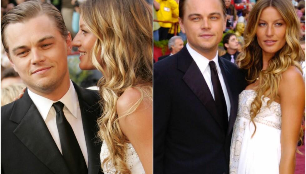 EKS-KJÆRESTER: Her er Gisele Bündchen og Leonardo DiCaprio sammen på den røde løperen under Oscar-utdelingen i 2005. Samme året som det ble slutt. Foto: NTB Scanpix