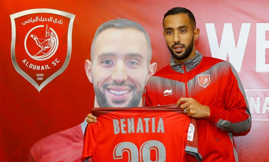TIL QATAR: Medhi Benatia ble presentert som Al-Duhail-spiller på tirsdag. Foto: Karim Jaafar / AFP / NTB Scanpix