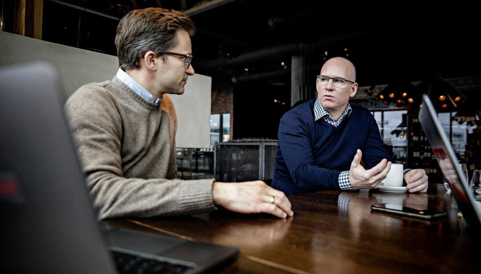 VIL ÅPNE OPP: Peter Münster, nordisk kommunikasjonssjef i Facebook, og sjef for Norgeskontoret, Rune Paulseth. Foto: Nina Hansen / DAGBLADET