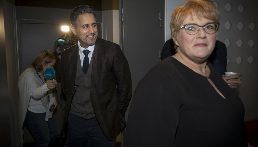 PRESSET: Trine Skei Grande sier hun gjerne ta en debatt om hennes posisjon som leder - men hun går ikke av.   Foto: Heiko Junge / NTB scanpix