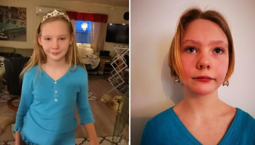 KLIPPET BORT LOKKENE: Her er Leonora før og etter at hun klippet bort håret sitt for å donere det til en god sak. Hun oppfordrer flere til å gjøre det samme. Foto: Privat