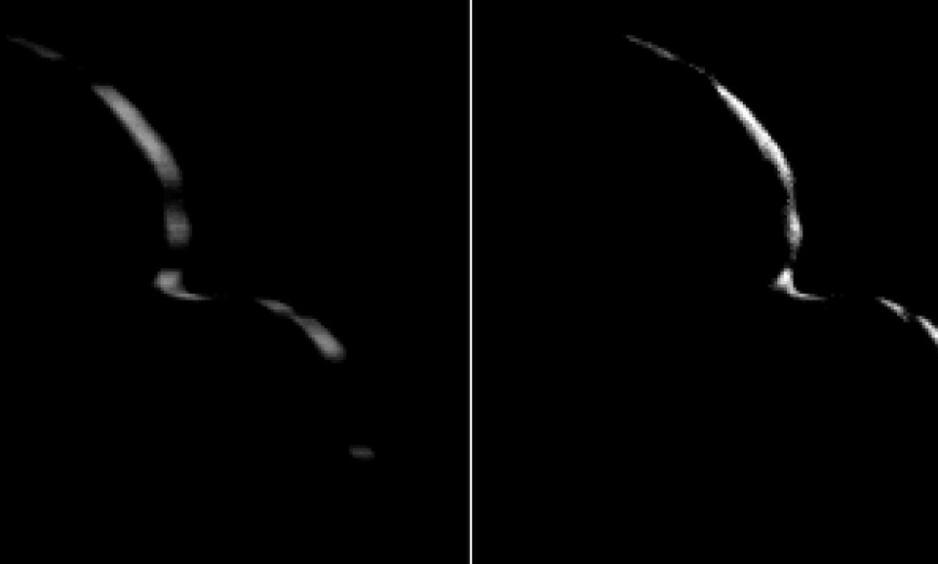 NYE BILDER: Disse bildene av Ultima Thule har fått forskerne til å klø seg i hodet. Nå har de enda flere spørsmål. Foto: Nasa