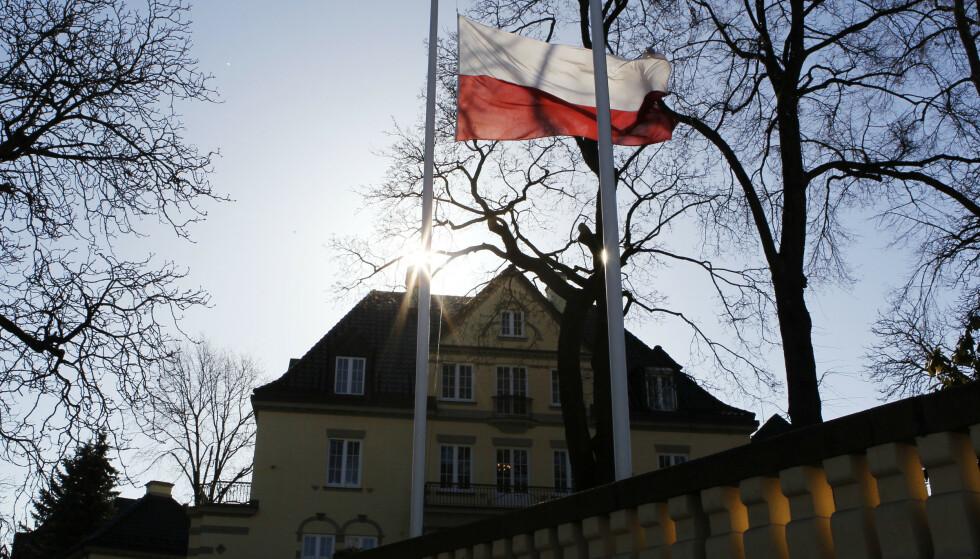 UØNSKET: UD bekrefter at en polsk konsul er erklært uønsket i Norge. Her er et bilde av Polens ambassade i Oslo.  Foto: Cornelius Poppe / Scanpix