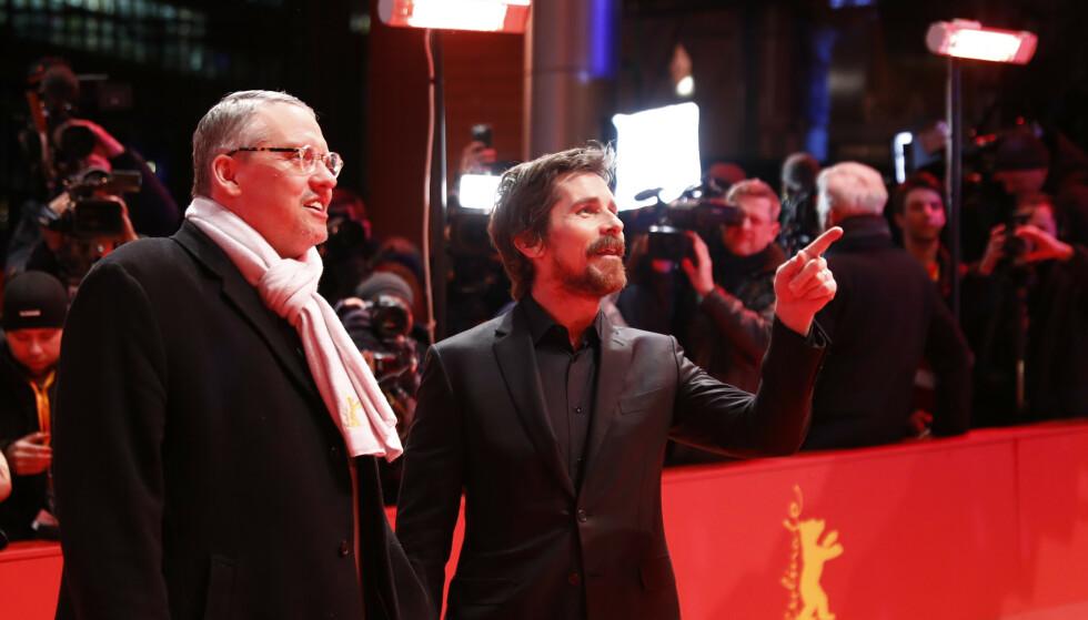 Forteller ikke alt: Regissør Adam McKay og hovedrolleinnehaver Christian Bale under visning av den nye Cheney-filmen Vice på den 69. Berlinale International Film Festival. REUTERS/Fabrizio Bensch