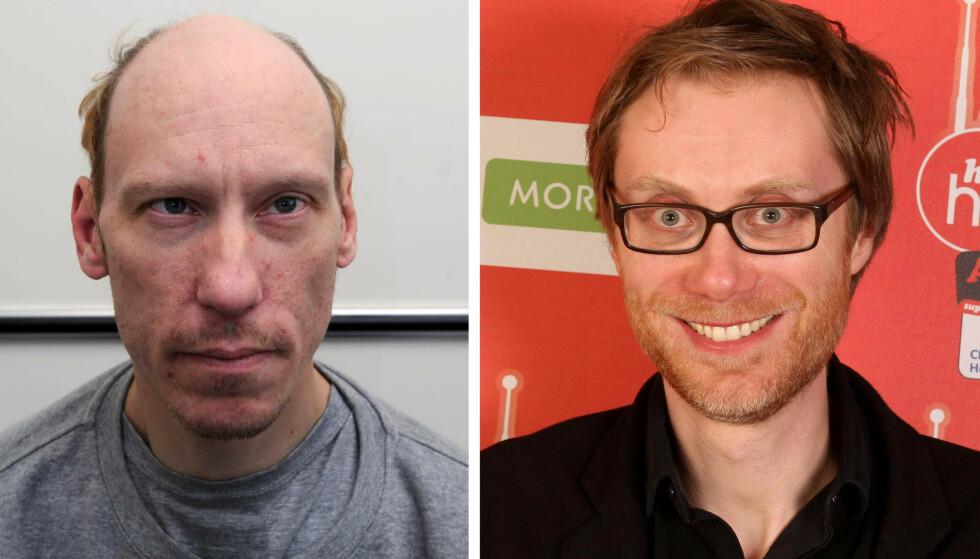 GRINDR-MORDEREN: Stephen Merchant (t.h.) skal spille Stephen Port (t.v.) i den nye BBC-serien. MONTASJE: Metropolitan Police / Dominic Lipinski