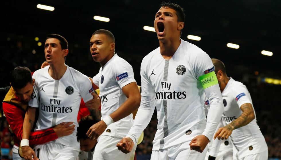 GODT UTGANGSPUNKT: PSG-spillerne jubler på Old Trafford. Foto: Reuters/Jason Cairnduff/NTB Scanpix