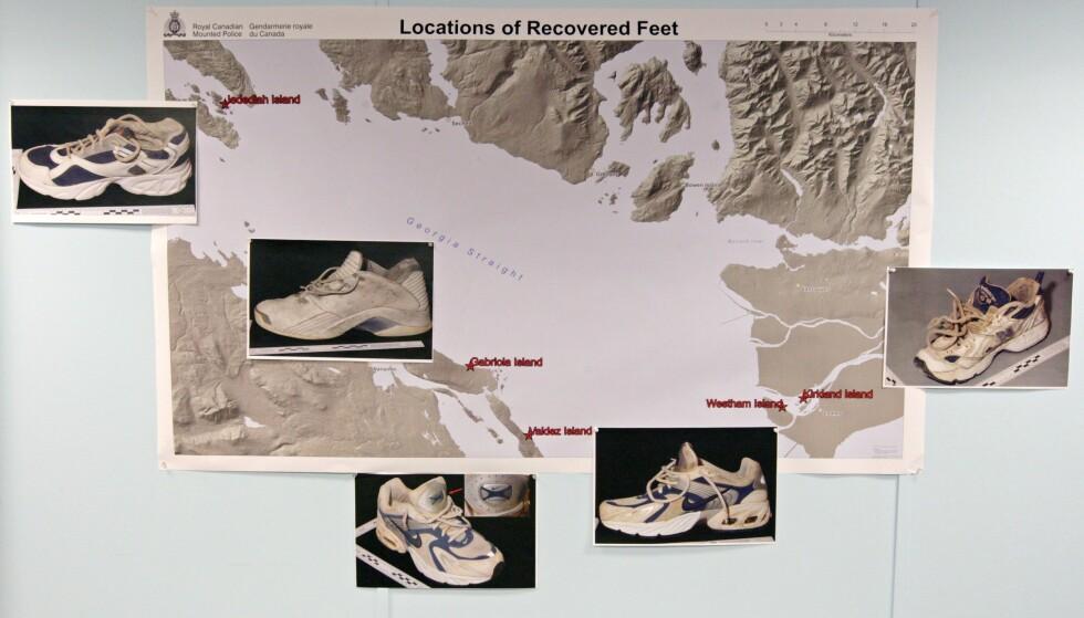 HVEM TILHØRER DE? Disse skoene satt på fem føtter som skylte i land i Canada i 2008. Foto: AP/CAnadian Press/Darryl Dyck