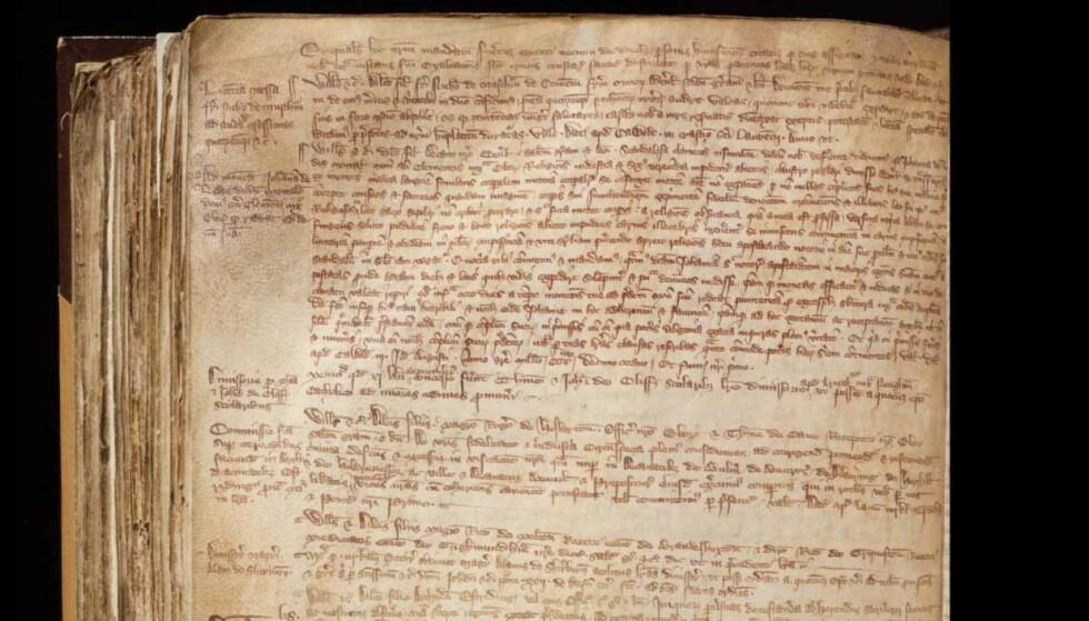 NOTIS: En liten notis i margen på en av erkebiskopens registre over handelsvirksomhet forteller en dramatisk og hjerteskjærende historie om nonna Joan of Leeds. Foto: University of York