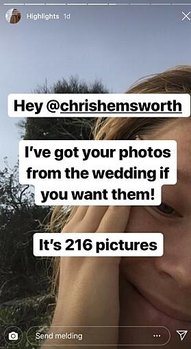 UTROLIG: Elvira Nordström skjønte ingenting da hun fant ut at det var de private bildene til Liam Hemsworth hun hadde fått tilsendt. Foto: skjermdump fra Instagram.