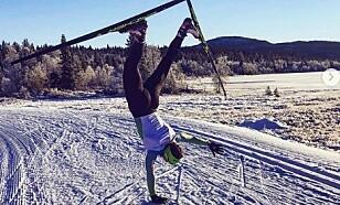 AKROBAT: Eva Urevc er både smidig og akrobatisk på skiene. Foto: Privat