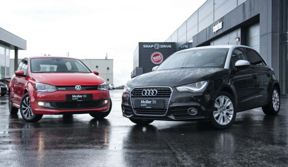SMÅ OG GODE: Volkswagen Polo (t.v) og Audi A1 Sportback er to populære småbiler i bruktmarkedet. Men hvilken av dem skal du velge? Autofil har kåret en vinner i bruktduellen. Foto: Kaj Alver