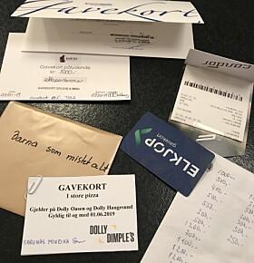 GAVEKORT: Det har kommet inn flere gavekort fra bedrifter og privatpersoner. Foto: Privat