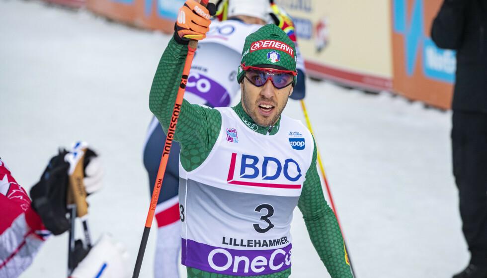 FAVORITT: Federico Pellegrino fra Italia vant sprinten på Lillehammer. Nå skal italieneren vise seg fram helt på hjemmebane i Cogne. Foto: Geir Olsen / NTB scanpix