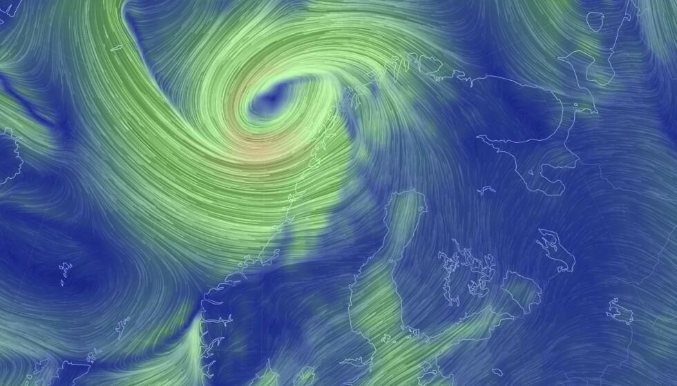 Grafikk av stormsystemet over Nord-Norge lørdag morgen. Foto: Earth Nullschool