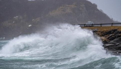 BODØ: Høye bølger slår mot veier og biler i Bodø lørdag formiddag. Foto: Kent Even Grundstad / NTB scanpix