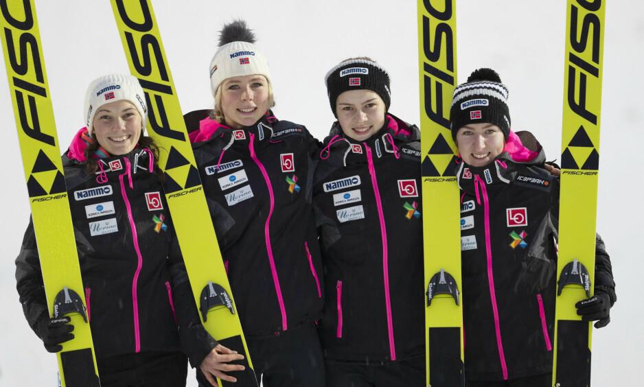 VM-LAGET: Fra venstre, Silje Opseth, Maren Lundby, Anna Odine Strøm og Ingebjørg Saglien Bråten. Foto: Geir Olsen / NTB scanpix