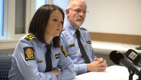 STOR ETTERFORSKNING:Politiinspektør Tore Salvesen og politiinspektør May-Britt Erstad, orienterte om den gigantiske etterforskningen i dag. Foto: Marit Hommedal / NTB scanpix