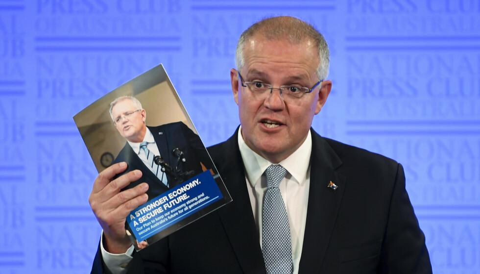 STATSMINISTER: Australias statsminister Scott Morrison advarer om hacking før valget. Foto: Lukas Coch/AAP Image via AP