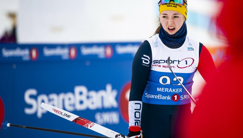 VM-GULL: 18-åringen Vilde Nilsen gikk inn til sitt første gull da hun vant 7,5-kilometern under VM i paralangrenn i Canada søndag.   Foto: Ole Martin Wold / NTB scanpix