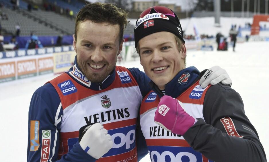 Johannes Høsflot Klæbo og Emil Iversen skal prøve å revansjere den bitre fjerdeplassen duoen fikk i Lahti for to år siden. Bedre gikk det i 2019 samme sted da de tok førsteplassen i forkant av ski-VM. Foto: Markku Ulander / Lehtikuva / NTB scanpix