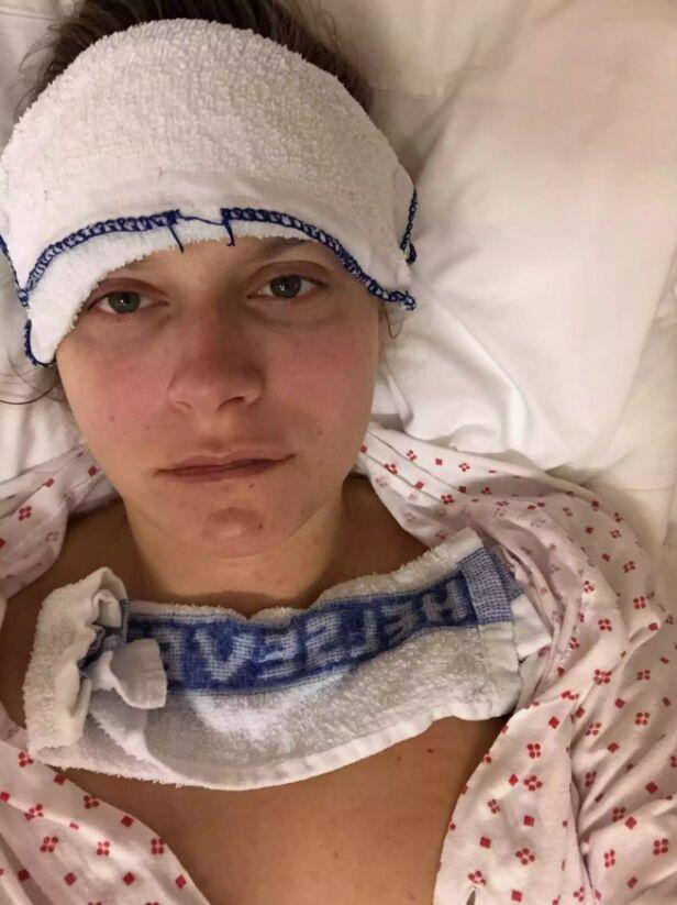 HØY FEBER: I løpet av svangerskapet ble Anja Johansen innlagt på sykehuset flere ganger. Tross de mange utfordringene, fikk paret ei velskapt og sunn datter. Foto: Privat