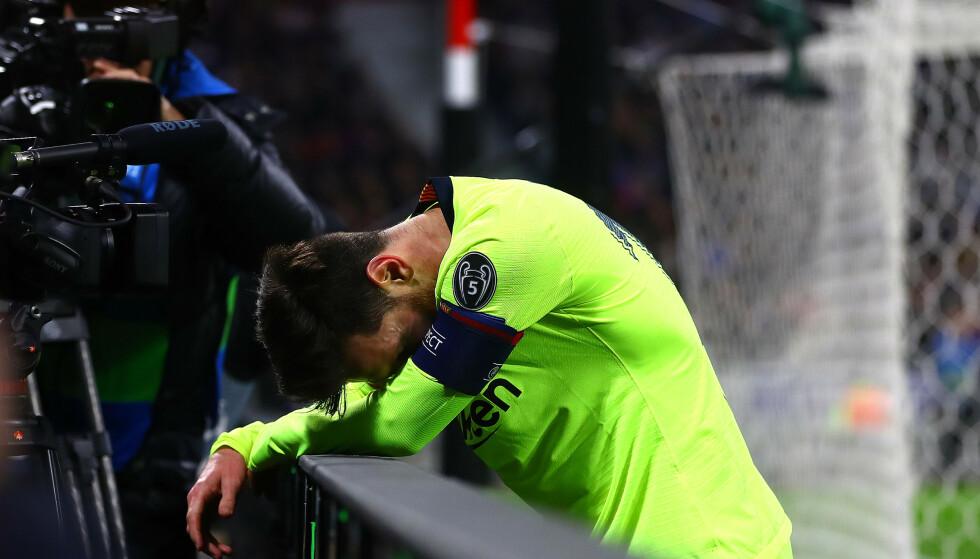 DEPPER: Barcelona skapte flere store sjanser, men klarte ikke score mot Lyon. Lionel Messi depper. Foto: NTB Scanpix
