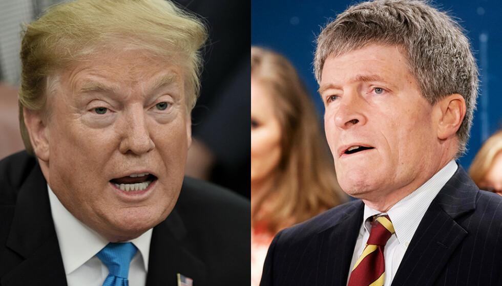 REFS: Richard Painter (t.h.), tidligere etikksjef ved Det hvite hus, mener Donald Trump må avsettes, fordi han ikke er skikket til å lede landet. Foto: NTB scanpix