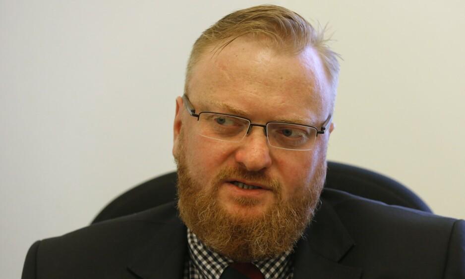 LIKER IKKE HOMOFILE: Vitaly Milonov er en russisk politiker, kjent for sin politikk og meninger mot skeive. Foto: NTB Scanpix