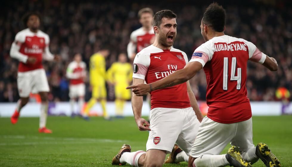 AVANSERTE: Arsenal vant 3-0, og blir dermed å se i åttedelsfinalen i Europa League. Foto: NTB Scanpix