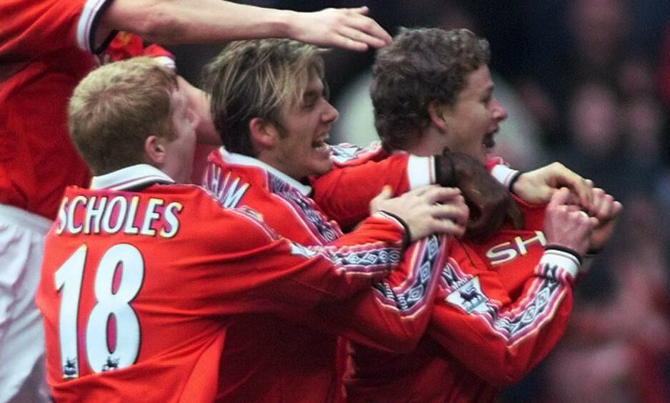 VIKTIG SCORING: Solskjær var sentral i 1998/1999-sesongen for United. Her feirer han etter å ha scoret vinnermålet mot Liverpool i FA-cupen. Foto: Ian Hodgson / REUTERS / NTB Scanpix