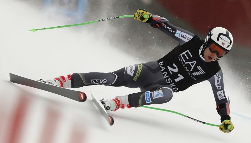 KARRIEREBESTE: Rasmus Windingstad imponerte i super-G i Bansko i dag. AP Photo / Gabriele Facciotti / NTB Scanpix