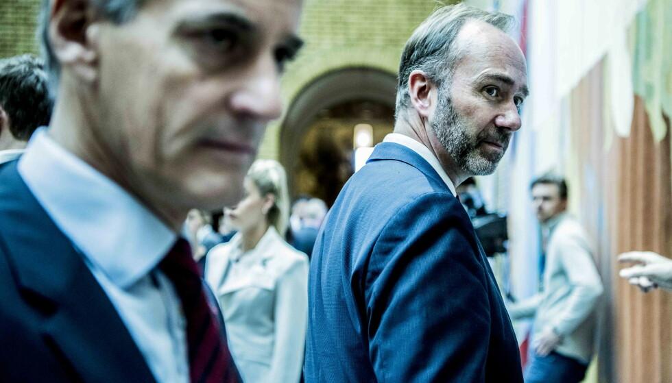 USIKKER FRAMTID: Ap-leder Jonas Gahr Støre sier til Dagbladet at han ikke kan se for seg at Trond Giske kan komme tilbake i et sentralt politisk verv i framtiden. Foto: Thomas Rasmus Skaug / Dagbladet