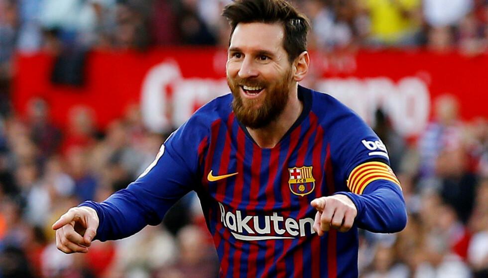 TRE MÅL: Sevilla ledet lenge mot Barcelona før Lionel Messi skrudde på turboen for fullt i annenomgangen. Argentineren scoret tre og hadde én målgivende i 4-2-seieren. Foto: NTB Scanpix