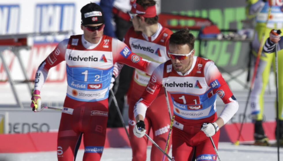 ENKELT: Johannes Høsflot Klæbo og Emil Iversen hadde null problemer med å ta seg til finale. Foto: Bjørn Langsem/Dagbladet
