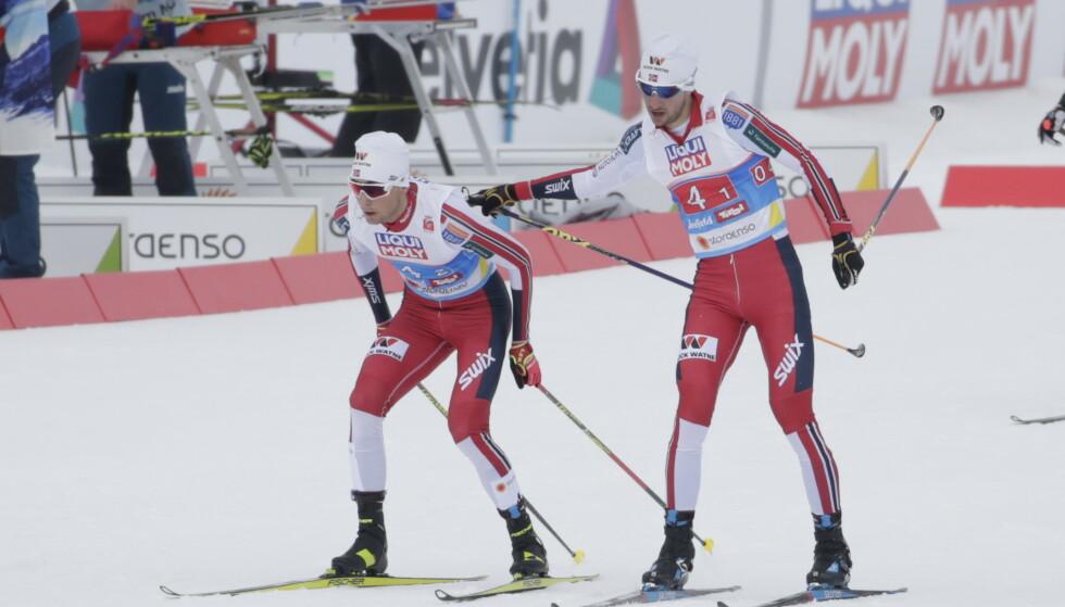 MEDALJE: Jarl Magnus Riiber og Jan Schmid sikret medalje etter et sterkt langrenn. Foto: Bjørn Langsem/Dagbladet