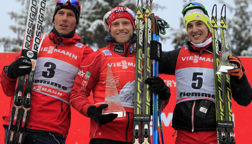 EPO-DØMT: Johannes Dürr (t.v.) har innrømmet EPO-misbruk etter at han slo Petter Northug i kampen om 3. plassen i Tour de Ski i 2013/14. Foto: NTB Scanpix