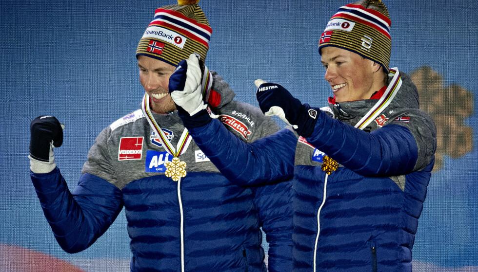 VM-KONGE: Johannes Høsflot Klæbo er i rute til å bli VM-konge i Seefeld med to gull så langt. I 1985 ble Gunde Svan VM-kongen samme sted. Svan ser flere likheter mellom dem. Foto: Bjørn Langsem / Dagbladet